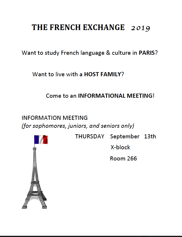 French Exchange Flyer 2018-19