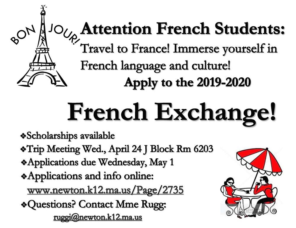 NSHS French Exchange Flyer 2019