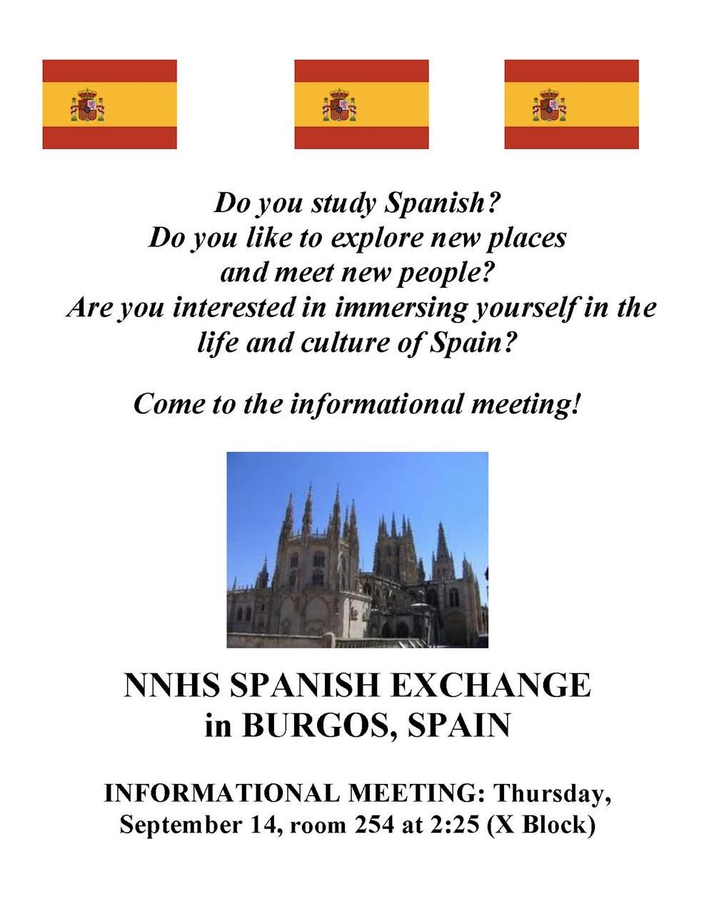 Global education programs spanish exchange program nnhs spanish exchange program solutioingenieria Images