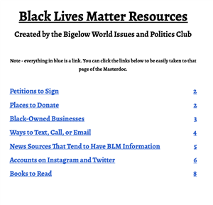 BLM table of Contents