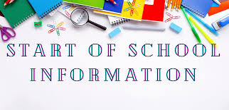 Elementary School Dates and Information - 9.4.20
