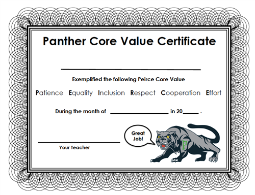 Panther Core Value Certificate
